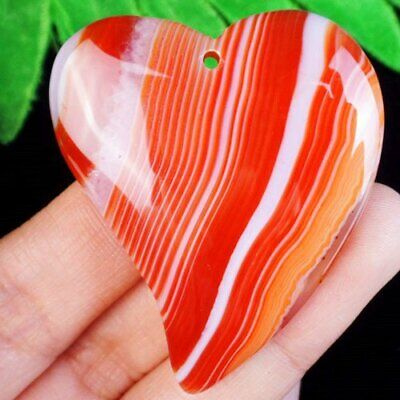 50x41x7mm Orange White Onyx Druzy Geode Agate Heart Pendant Bead L07338