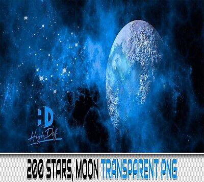 200 Stars Moon Transparent Png Digital Photoshop Overlays Backdrops Backgrounds