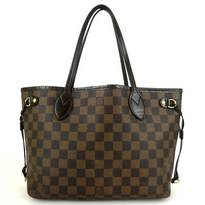 Authentic LOUIS VUITTON N51109 Damier Neverfull PM MB2038 Tote Bag PVC/leath...