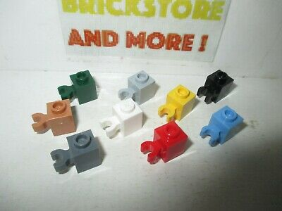 6x Brick Brique Modified 1x1 vertical clip 30241 60475 White//Blanc//Weiss Lego