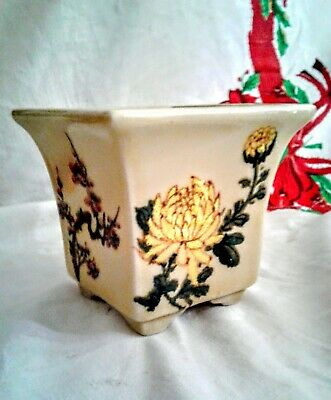 VTG Chinese Planter hand painted porcelain 4.5 inch x 4 Chrysanthemum Out Indoor