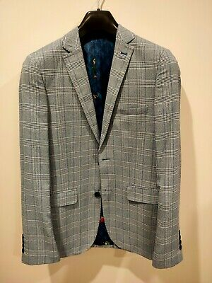 Men's BNWT 36R slim fit check blue BURTON 1904 blazer