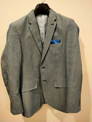 Men's BNWT small slim fit blue OXFORD linen/cotton blend blazer - RRP $350