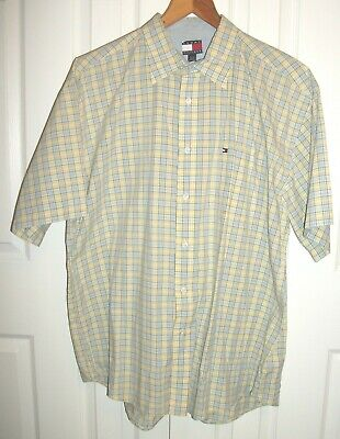 Men's Yellow Blue Check Tommy Hilfiger XL 100% Cotton Button Up Casual Shirt SS