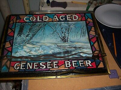 """Vintage Genesee Beer Faux Stained Glass Design Plastic Light Up Sign 15"""" X 19"""""""