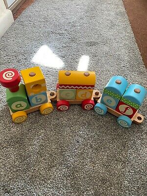 Children's Wooden Abc/123 Blocks Train- Early Learning Centre