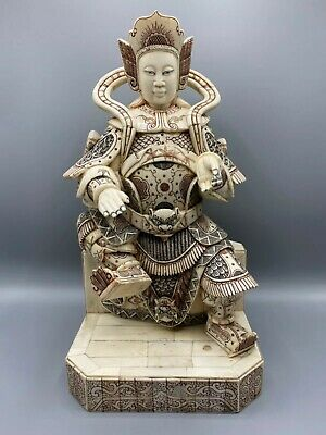 Chinese Antique Bovine Bone Finely Carved Warrior 37CM Qing Dynasty Late 19th