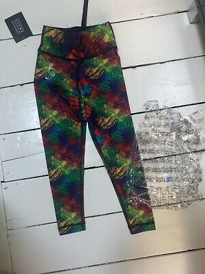 Sturdy By Design Kids Rainbow Chalk Hearts Sport Leggings. BNWT Age 4-6