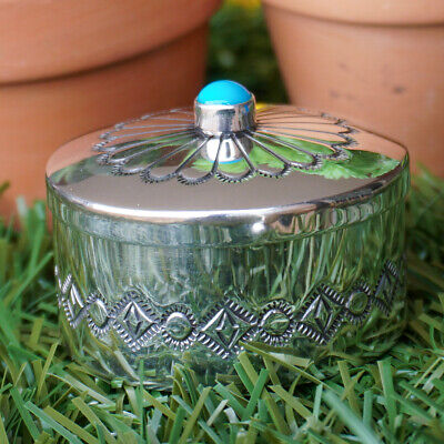 NAVAJO-HAND STAMPED STERLING SILVER & TURQUOISE PILL BOX by EDITH KEE