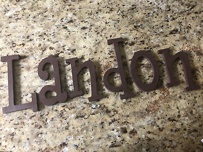 """Wooden Letters """"LANDON"""" Painted Brown"""