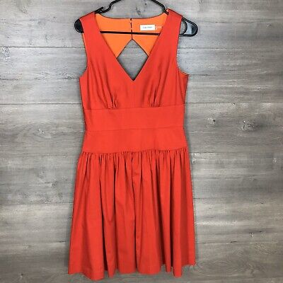 Calvin Klein Womens Size 6 Fit & Flare Sleeveless Dress Red V-Neck Cotton