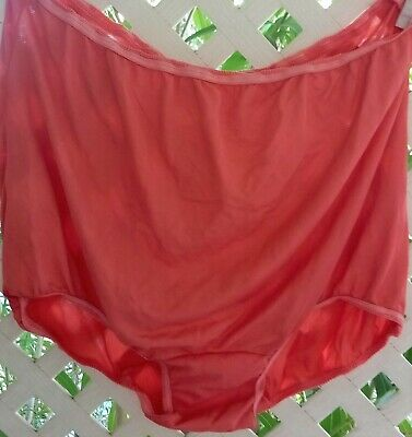 Vintage Coral Rose Acetate ?  High Waist Unlined Panty Brief 3X/10