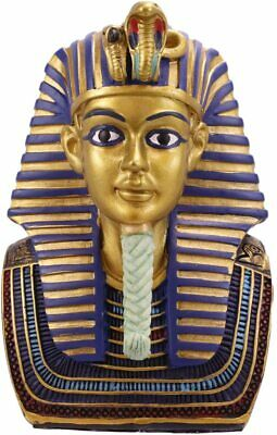 "Ebros Golden Cobra and Vulture Mask of Pharaoh King TUT Bust Statue 4.75"" Tall"
