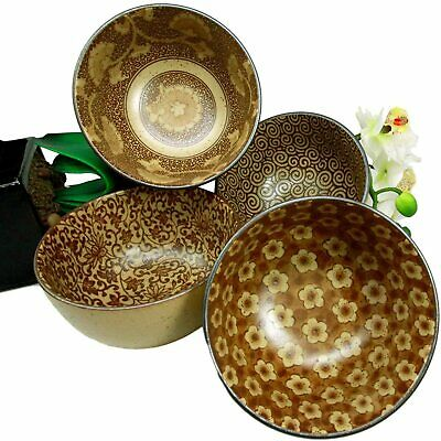 Ebros Made in Japan Tan Floral Ochawan Rice Soup Salad Porcelain Bowls Set of 4