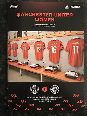 Man United Ladies V Man City Women 20.10.2019 Programme * Continental Cup *
