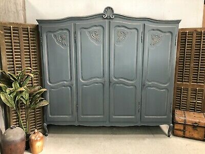 Vintage French Wardrobe /4 Door French Armoire / Painted Shabby chic style