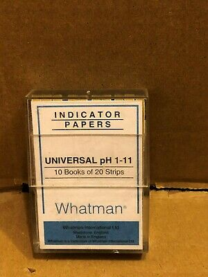 Whatman Indicator Papers, Universal pH 1-11, 10 Books of 20 Strips