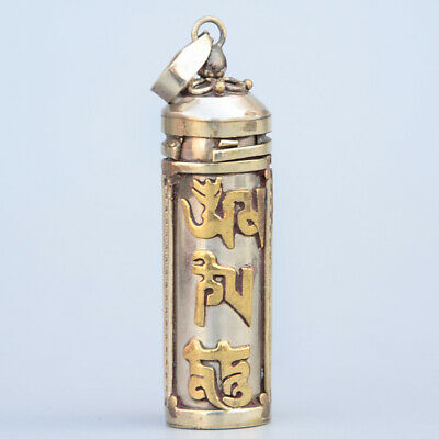 Collectable China Old Tibet Silver Hand Carve Special Character Exorcism Pendant