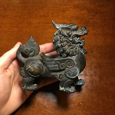 Antique Chinese Bronze Mythical Beast Paper Weight Statue - Ming / Qing Dynasty