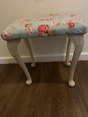 Shabby Chic Stool Louis French Style Blue Floral