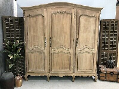 Sandblasted Vintage French Wardrobe / 3 Door Armoire/Shabby chic style