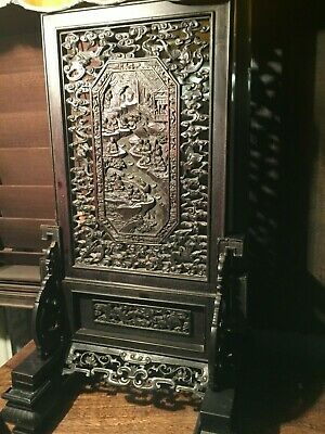 Antique hand carved wooden double sided Chinese table screen