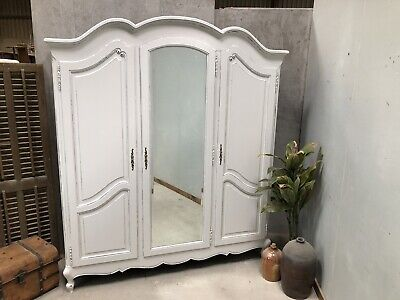 Vintage French Wardrobe /3 Door French Armoire / Painted Shabby chic style