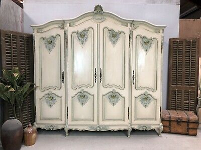 Vintage French Wardrobe/4 Door French Armoire / Original Paint Shabby chic style