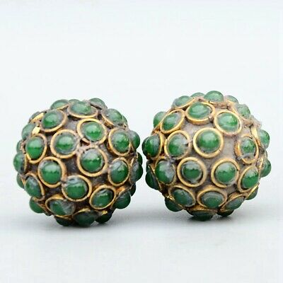 Collectable China Old Bronze Inlay Agate Hand-Carved A Pair Ball Decorate Statue