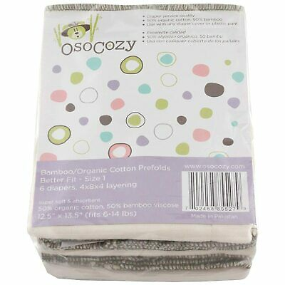 OsoCozy -Bamboo Cotton Blend  Organic Prefolds (6 Pack) - Ultra Soft, Diapers