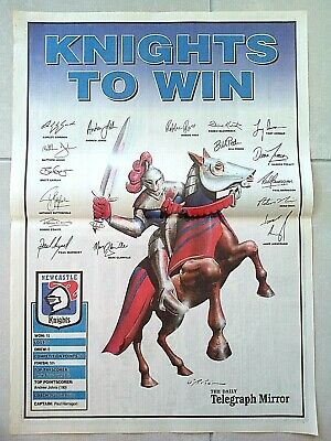 1995 Newcastle Knights Poster- Knights To Win -W/Signatures -The Daily Telegraph