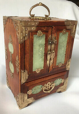 "QUALITY Vintage CHINESE 12""H Wood JEWELRY CHEST BOX Hand CARVED JADE Brass"