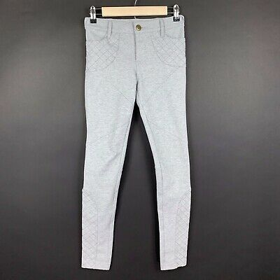 Free People Womens Size 25 Leggings Skinny Leg Pants Gray Moto Stitched Stretch