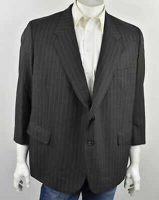 ROYAL CLASSIC Tom James Grey Striped HOLLAND & SHERRY Wool Suit Coat 48S Portly