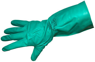 Green Flock Lined Nitrile Household Gloves 15 Mil Textured Large Dozen Pairs