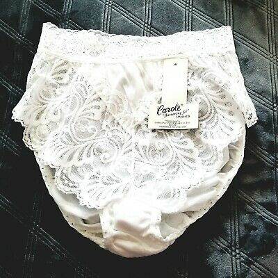 vintage Carole Panty HiCut Briefs Stretch Lace Bridal White Nylon size 6 Nwt