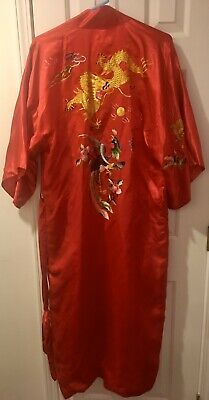 Vintage GOLDEN BEE Red Silk Kimono Robe L Embroidered DRAGONS BIRDS Large