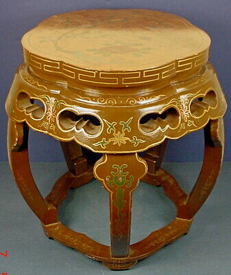 Vintage Chinese Brown & Gold Lacquered & Hand Painted Wood Taboret