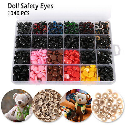 1040Pc Teddy Bear DIY Making Plastic Safety Eyes Noses Washers Toy Doll 6mm-14mm