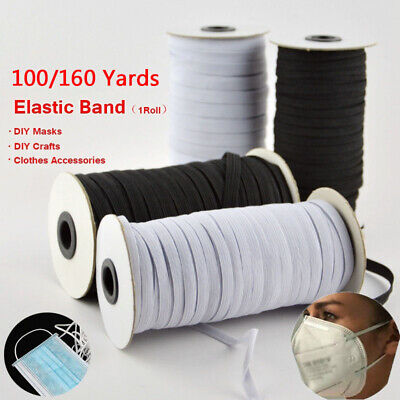 100/160 Yards Braided Elastic Band Cord Knit Band Sewing 1/8 1/4in DIY Mask Cuff