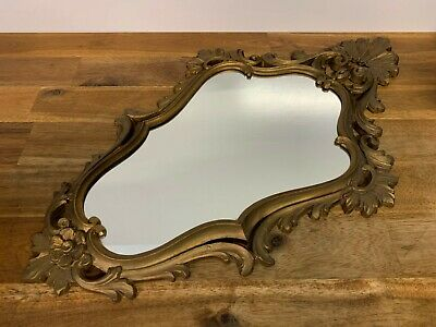Vintage Ornate Gold Tone Painted Hanging Wall Mirror Depose Made In Italy