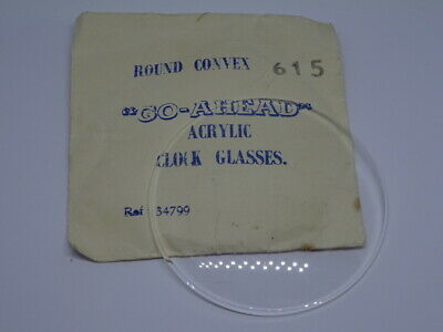 Vintage Replacement Clock Round Convex Go-Ahead Acrylic Glass (NOS) 615