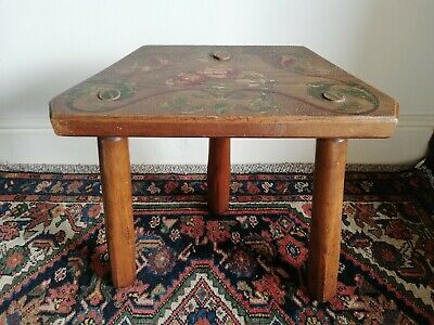 Vintage three-legged folk art stool with painted and pokerwork top [D054]