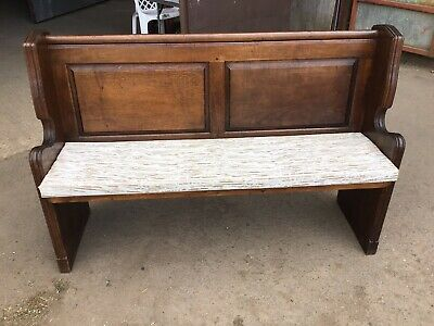 Antique Heavy Oak Church Chapel Pew Bench With Panel Back
