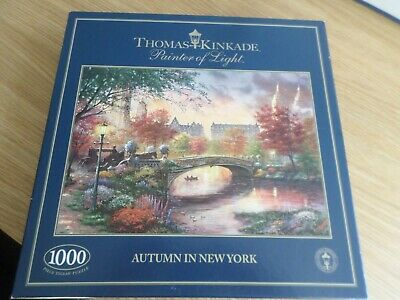 Gibsons Thomas Kinkade Autumn In New York 1000 Piece Jigsaw Puzzle Complete