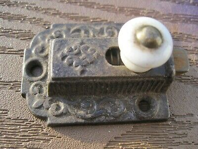 Antique 1871 Ornate Eastlake Cabinet Cupboard Latch Porcelain Slide Knob Vtg