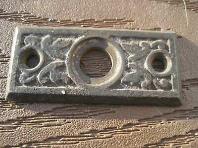 Antique 1800 S FLAT EASTLAKE CAST IRON   DOOR BELL ESCUTCHEON 2 1/8 X 1