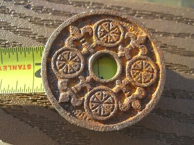 Antique 1800 S FLAT EASTLAKE CAST IRON   DOOR BOLT ESCUTCHEON 1 7/8