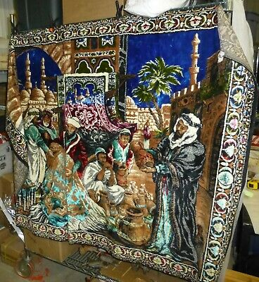 Vintage Velvet Tapestry wall hanging - People at the turkish market - 42x72