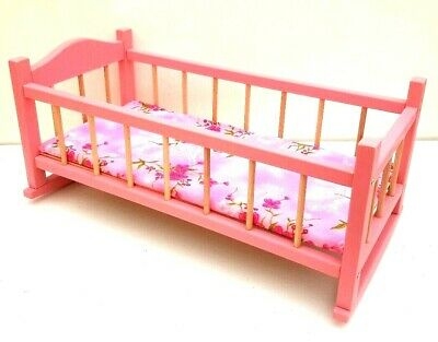 """Wooden toy rocking bed cot crib,pink dolls toy cradle 20"""" ,with mattress"""